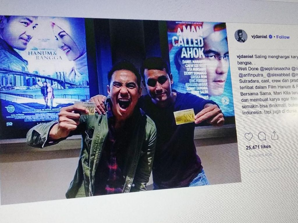 Salam Damai, Bintang Film Ahok-Hanum Rangga Saling Dukung