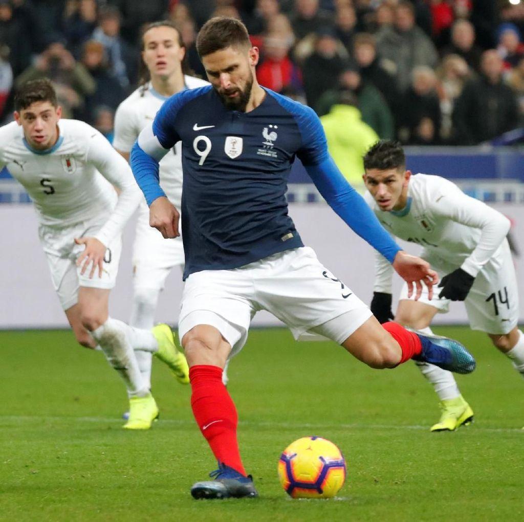Hasil Laga Ujicoba: Penalti Giroud Menangkan Prancis Atas Uruguay