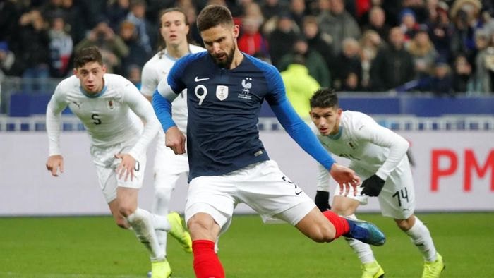 Prancis kalahkan Uruguay 1-0 lewat penalti Olivier Giroud (Charles Platiau/Reuters)