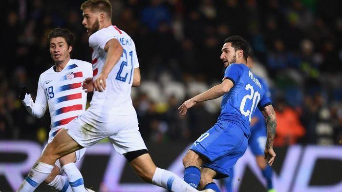 Italia menang 1-0 atas Amerika Serikat dalam pertandingan uji coba (Foto: Claudio Villa/Getty Images)
