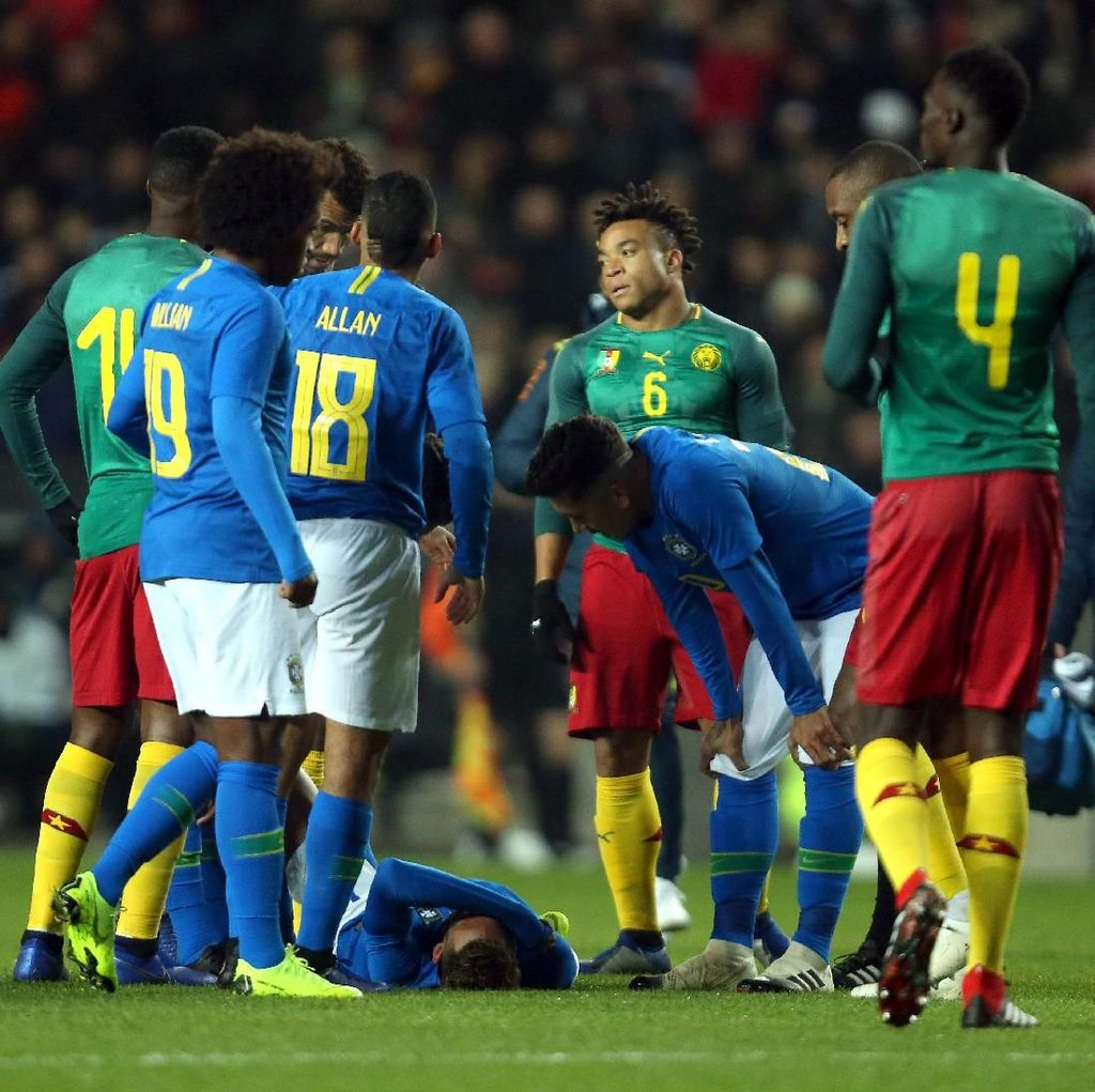 Hasil Uji Coba: Brasil Kalahkan Kamerun, Neymar Cedera