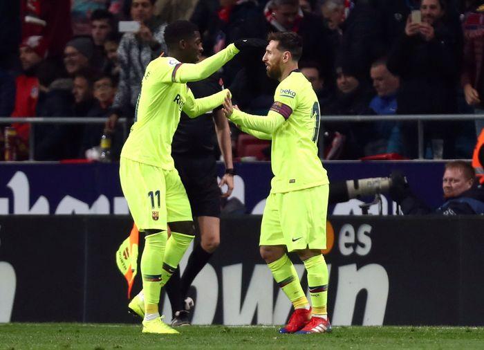 Barcelona selamat dari kekalahan. Tertinggal lebih dahulu dari Atletico Madrid, Barcelona akhirnya mampu memaksakan pertandingan berkesudahan sama kuat 1-1. REUTERS/Sergio Perez
