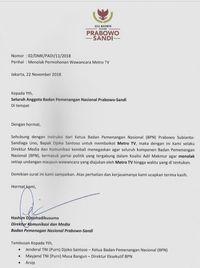 Saran Dewan Pers untuk Timses Prabowo dan Metro TV Soal Boikot