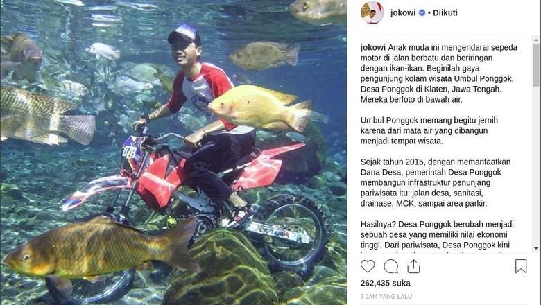 Umbul Ponggok, Klaten (Screenshot Instagram Jokowi)