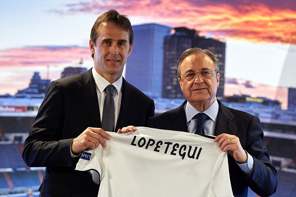 MADRID, SPAIN - JUNE 14:  Julen Lopetegui the new head coach of Real Madrid (L) poses with Florentino Perez, President of Real Madrid at Santiago Bernabeu Stadium on June 14, 2018 in Madrid, Spain. (Photo by Quality Sport Images/Getty Images)