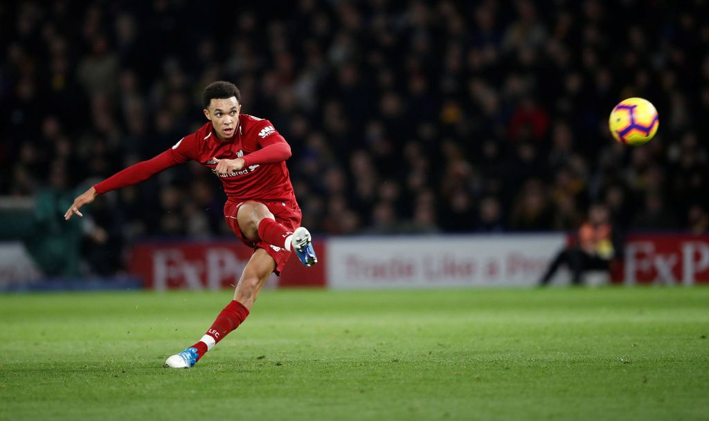 Soccer Football - Premier League - Watford v Liverpool - Vicarage Road, Watford, Britain - November 24, 2018  Liverpool's Trent Alexander-Arnold scores their second goal from a free kick                 Action Images via Reuters/Carl Recine  EDITORIAL USE ONLY. No use with unauthorized audio, video, data, fixture lists, club/league logos or