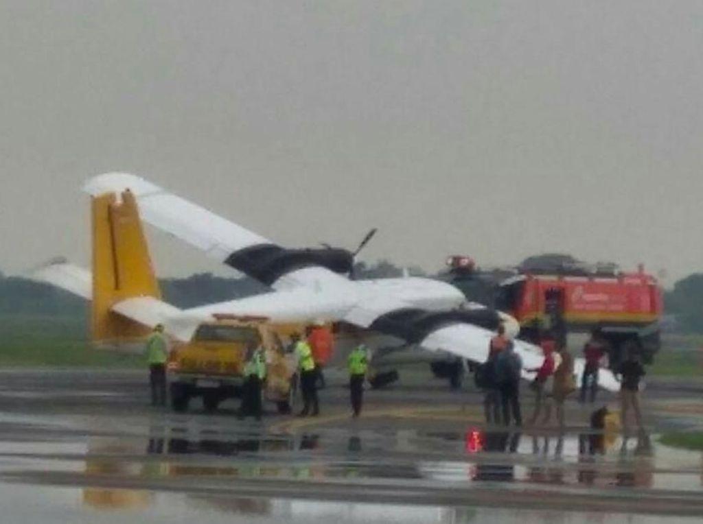 Lepas Landas, Pesawat Twin Otter Tergelincir di Bandara Juanda