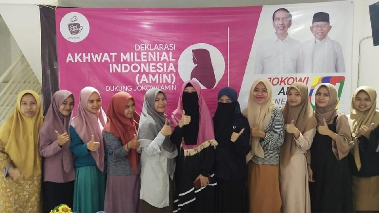 Akhwat Milenial Indonesia Deklarasi Dukung Jokowi-Maruf Amin