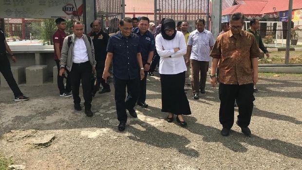 Dirjen PAS Sri Puguh Budi Utami mengecek kondisi Lapas Banda Aceh.