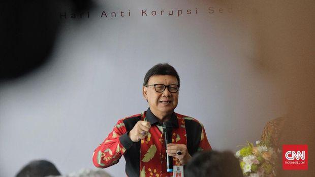 Mendagri Tjahjo Kumolo dalam peringatan Hari Antikorupsi Sedunia (Hakordia) 2018 di Hotel Bidakara, Jakarta Selatan, Selasa (4/12).