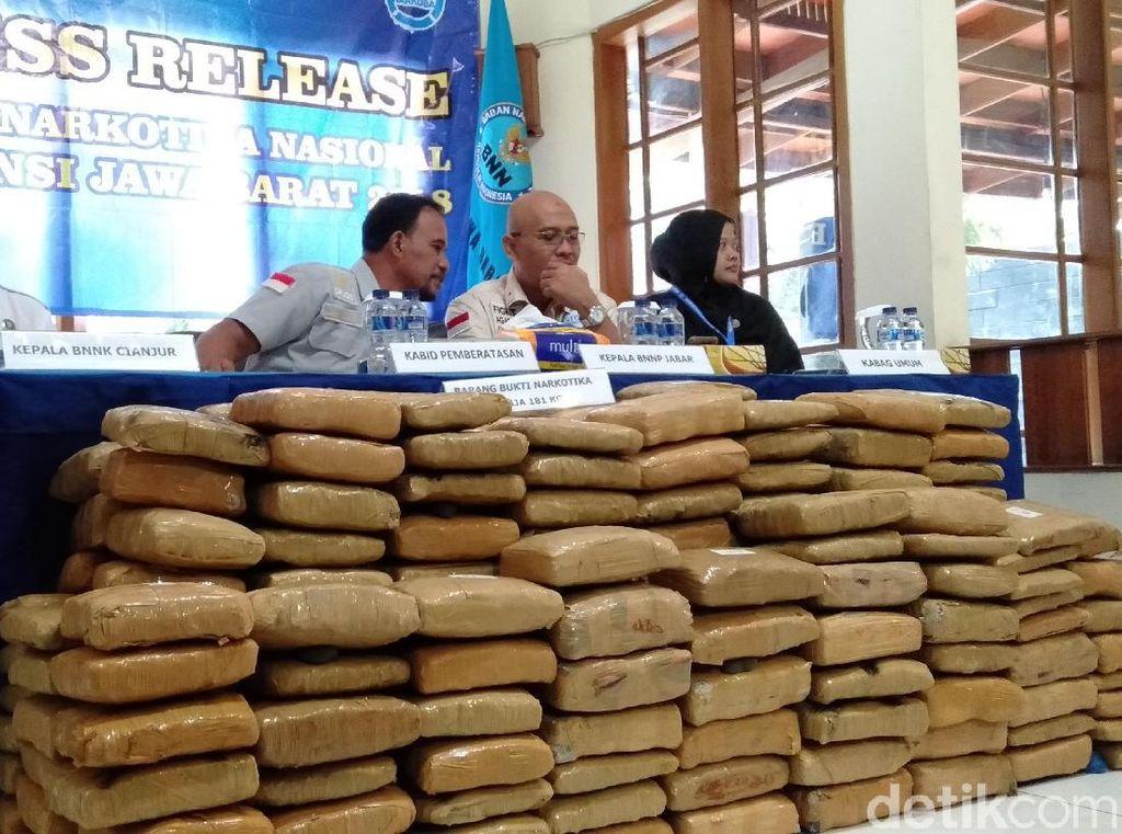 Ganja 181 Kg untuk Tahun Baru di Bandung Disita BNN Jabar
