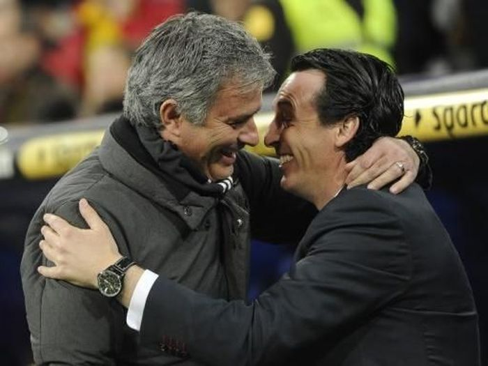 Head to head: Jose Mourinho unggul telak atas Unai Emery. Foto: Dominique Faget/ AFP Photo
