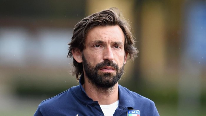 FLORENCE, ITALY - JUNE 10:  Andrea Pirlo looks on before an Italy training session at Coverciano on June 10, 2015 in Florence, Italy.  (Photo by Claudio Villa/Getty Images)