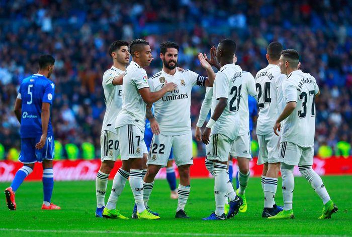 Real Madrid berpesta gol saat menjamu Melilla di Santiago Bernabeu, Kamis (6/12/2018) malam WIB. Gonzalo Arroyo Moreno/Getty Images.