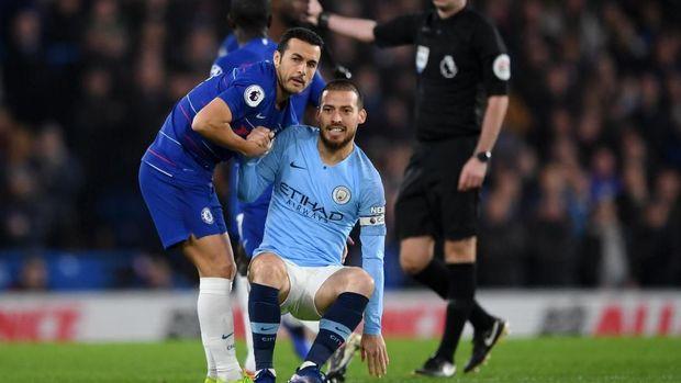 Pedro dan David Silva, duo Spanyol pada laga Chelsea vs Man City