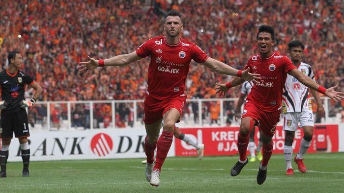 Pemain Persija Jakarta, Marko Simic, merayakan gol ke gawang Mitra Kukar. (Foto: Rifkianto Nugroho/Detikcom)