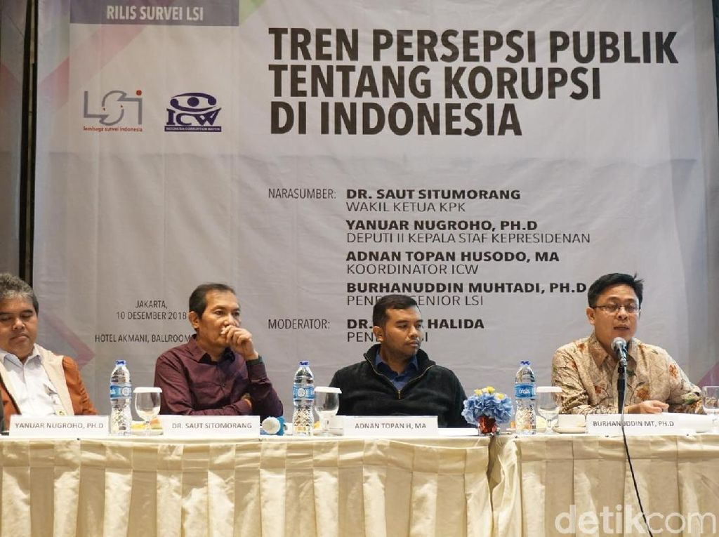 Survei LSI: Mayoritas Masyarakat Nilai Korupsi di Indonesia Naik
