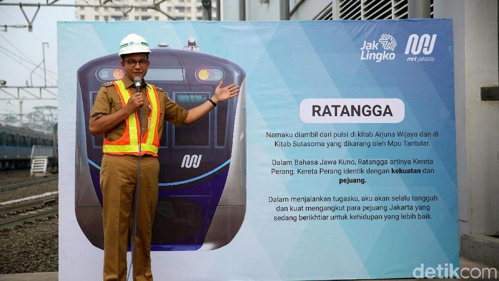 Sah! Anies Resmikan Kereta MRT Fase I dengan Nama Ratangga