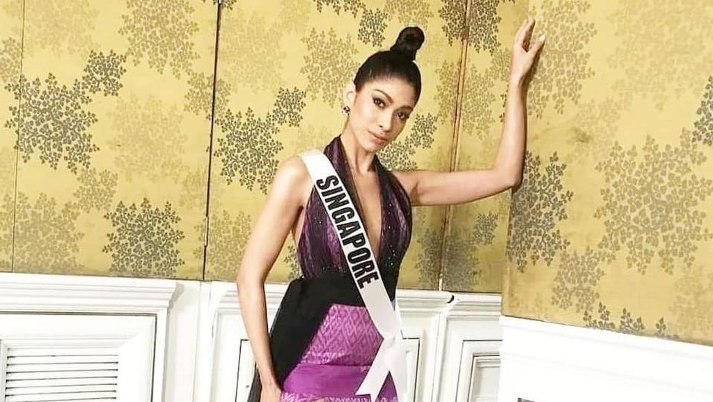 Foto: Miss Universe Singapura Di-bully Gara-gara Kostumnya Bergambar Trump