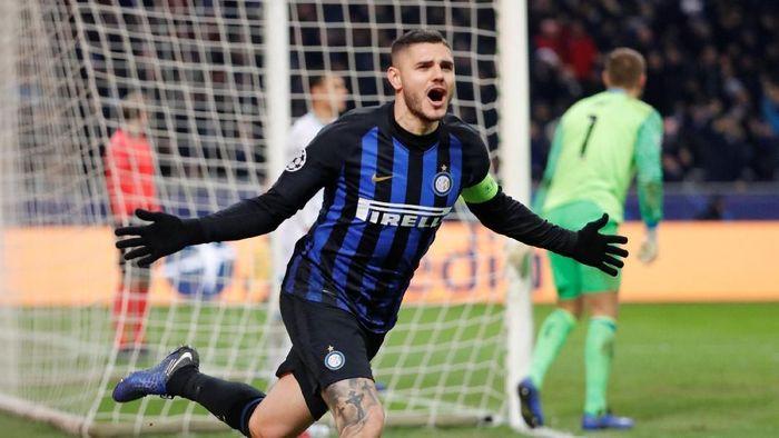 Mauro Icardi mencetak salah satu gol terbaik di fase grup Liga Champions (Stefano Rellandini/Reuters)