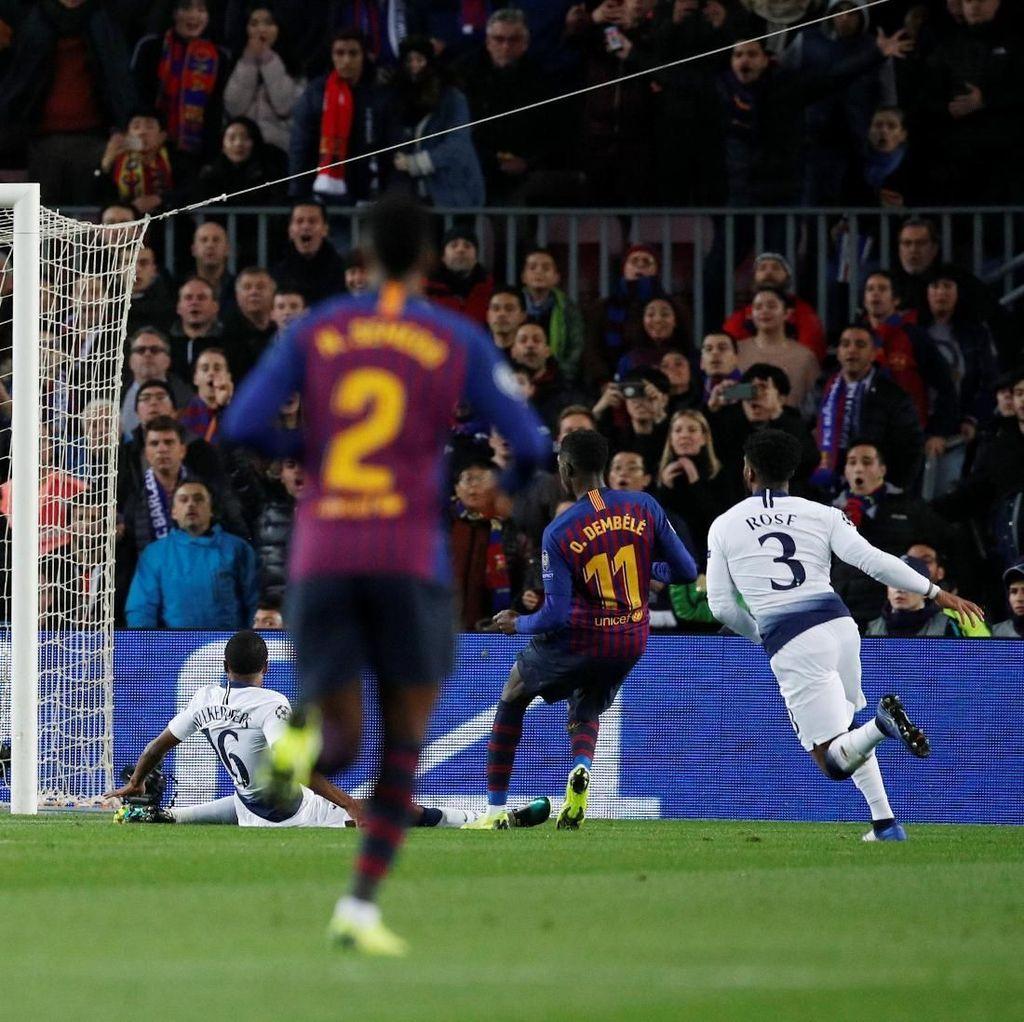 Turun Minum, Dembele Bawa Barcelona Memimpin atas Tottenham 1-0