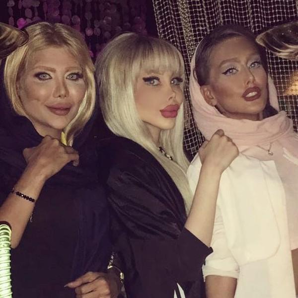 Sananztt punya teman-teman yang penampilannya tak kalah ekstrem. Para wanita ini juga tampak melakukan operasi plastik. Foto: Instagram (@Sanaztt)