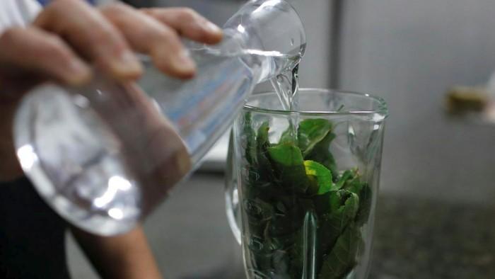 Seorang pasien HIV tengah menyiapkan ramuan daun jati belanda. (Foto: Reuters/Marco Bello)