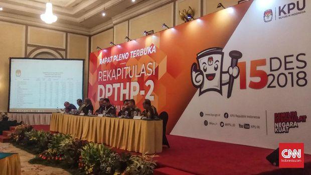 Rapat pleno terbuka penetapan DPTHP II Pemilu 2019 tingkat nasional oleh KPU, Sabtu siang (15/12).