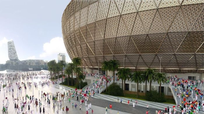 Panitia penyelenggara Piala Dunia 2022 Qatar merilis rancangan megaproyek Lusail Stadium, yang akan digunakan empat tahun lagi. (Foto: 2022 Supreme Committee for the Delivery & Legacy for the FIFA World Cup Event via Getty Images)