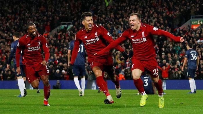 Liverpool menang 3-1 atas Manchester United lewat dua gol Xherdan Shaqiri (Phil Noble/Reuters)