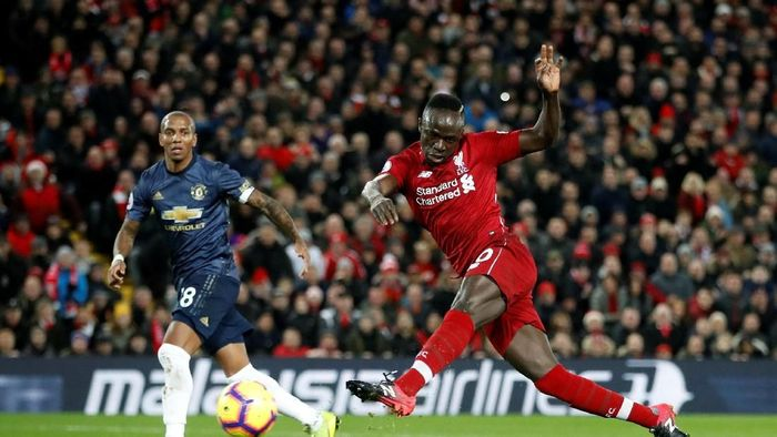 Sadio Mane saat bikin gol ke Man United Desember lalu (Carl Recine/Reuters)
