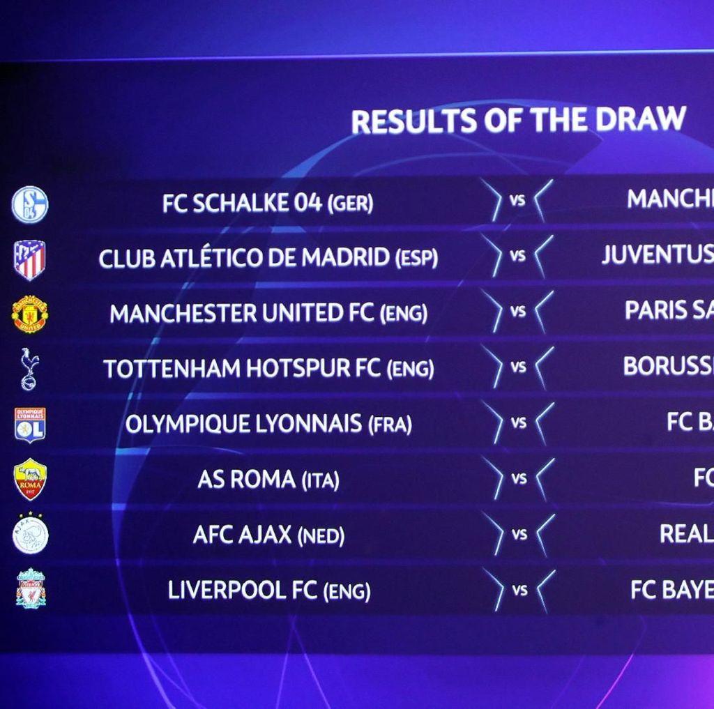 Jadwal Lengkap Babak 16 Besar Liga Champions