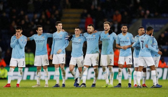 Manchester City menjejak semifinal Piala Liga Inggris. Juara Liga Inggris itu lolos berkat kemenangan adu penalti 3-1 atas Leicester City. REUTERS/Darren Staples.