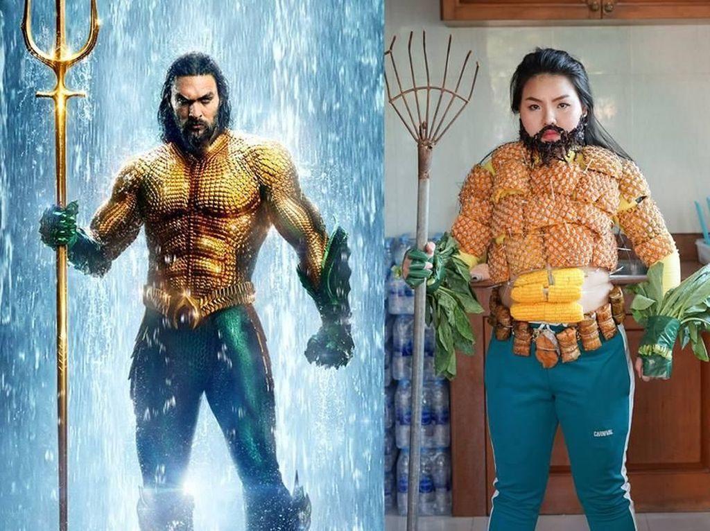 Kreatif! Wanita Ini Buat Kostum Aquaman dari Kulit Nanas dan Sawi