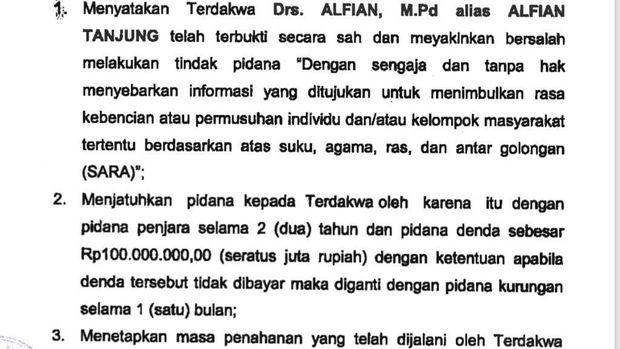 Alfian Tanjung Kembali Dihukum 2 Tahun Penjara!