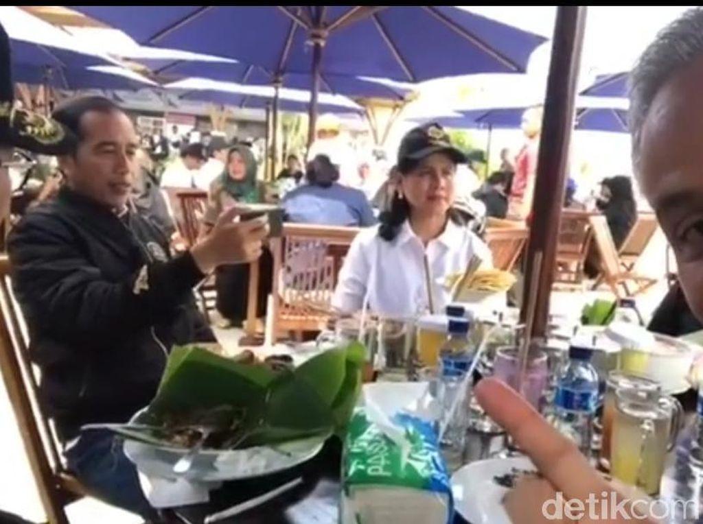Terekam Kamera Ganjar, Jokowi Asyik Ngevlog Kuliner di Rest Area