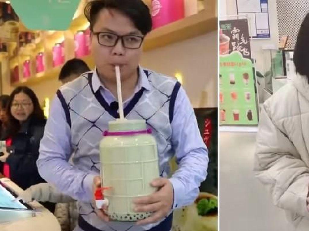 Lagi Tren! Minum Bubble Tea di Botol Jumbo dan Galon Mini
