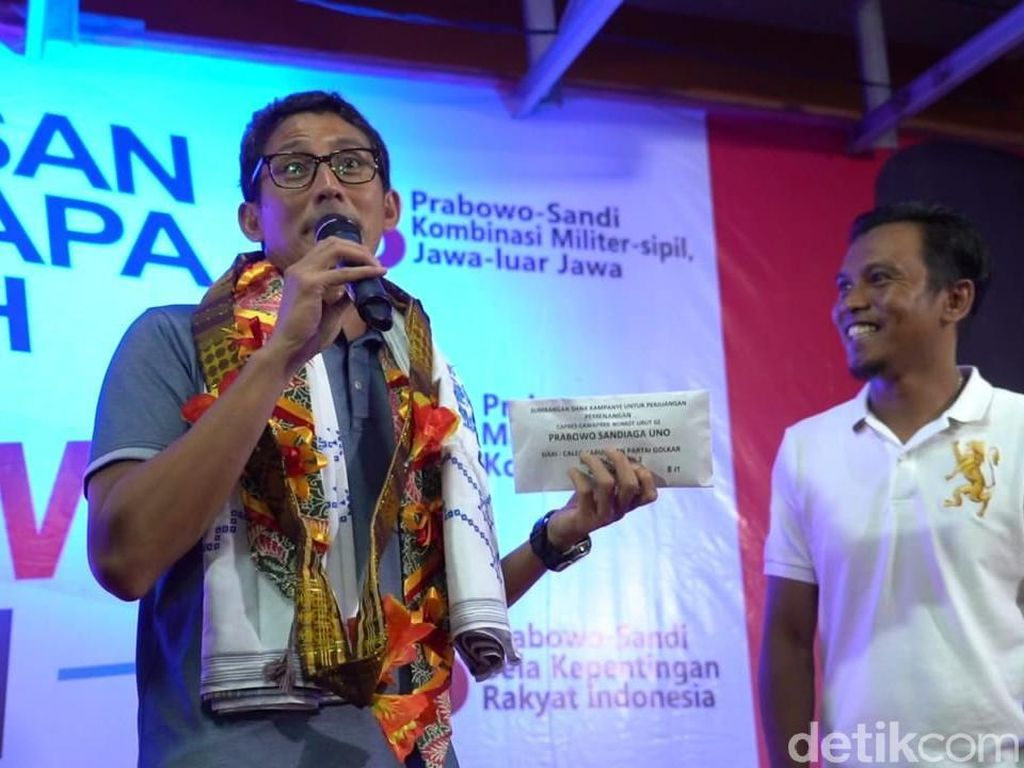 Sandi Tak Masalah Jika Partai Koalisi Belum Sumbang Dana Kampanye