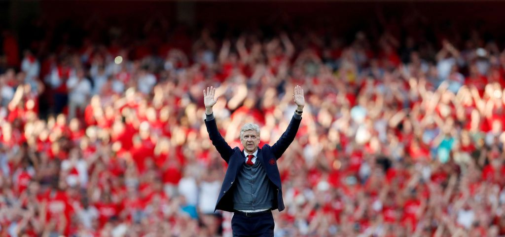 Football manager Arsene Wenger of Arsenal waves to fans after the match against Burnley at the Emirates Stadium, London, Britain, May 6, 2018. Action Images via Reuters/Matthew Childs  SEARCH
