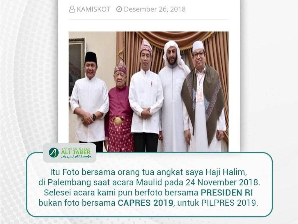 Syekh Ali Jaber soal Foto Bareng Jokowi: Bersama Presiden, Bukan Capres