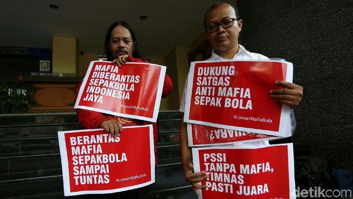 Satgas Anti Mafia Bola menetapkan lima tersangkar baru dalam kasus pengaturan skor di Liga 2. (Foto: Agung Pambudhy)