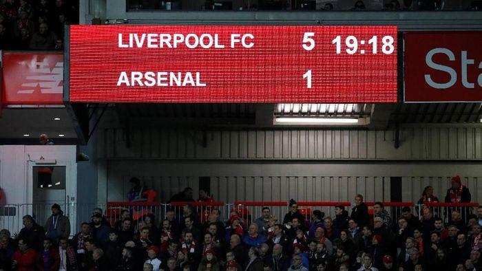 Musim lalu, Arsenal dibantai Liverpool dengan skor 1-5 di Stadion Anfield. (Foto: Phil Noble/Reuters)