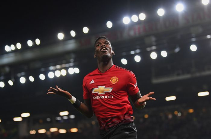 MANCHESTER, ENGLAND - DECEMBER 30:  Paul Pogba of Manchester United celebrates as he scores his teams second goal during the Premier League match between Manchester United and AFC Bournemouth at Old Trafford on December 30, 2018 in Manchester, United Kingdom.  (Photo by Michael Regan/Getty Images)