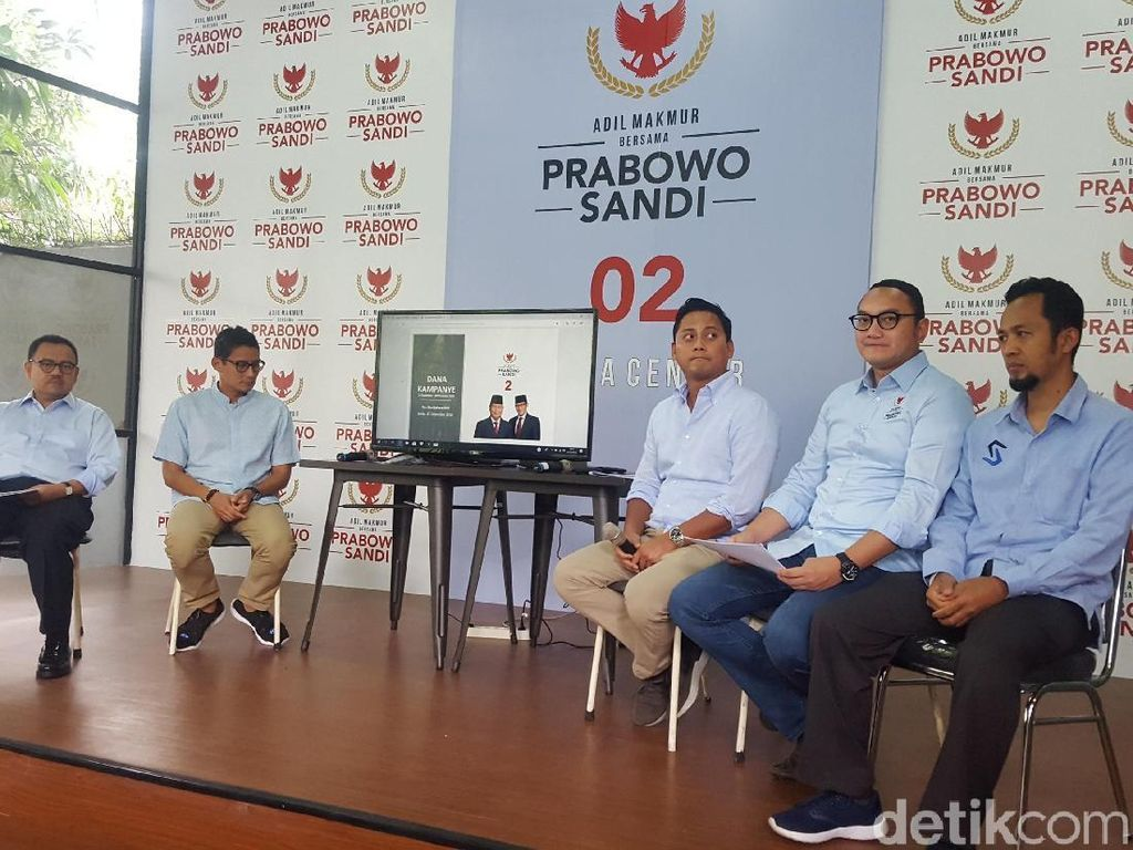 Dana Kampanye Prabowo-Sandi Rp 54 Miliar, Terpakai Rp 46,6 Miliar