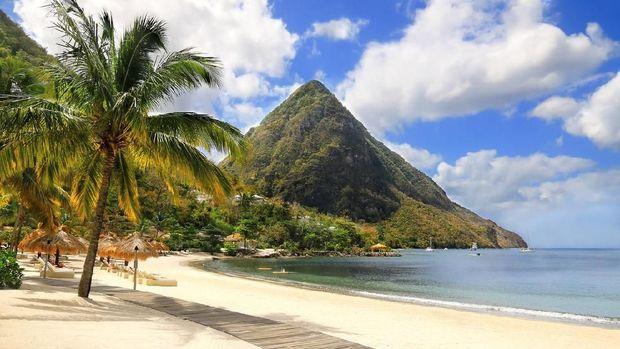 Beautiful white sand beach in Saint Lucia, Caribbean Islands