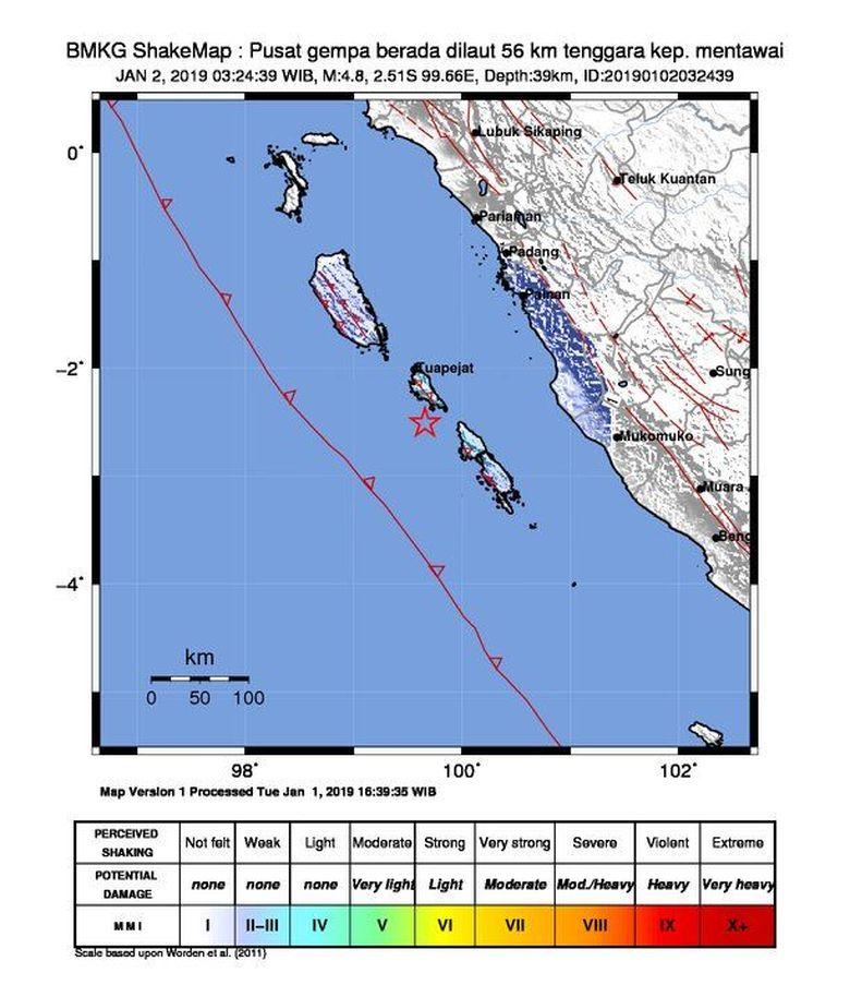 Gempa Magnitudo 4,8 Terjadi di Kepulauan Mentawai