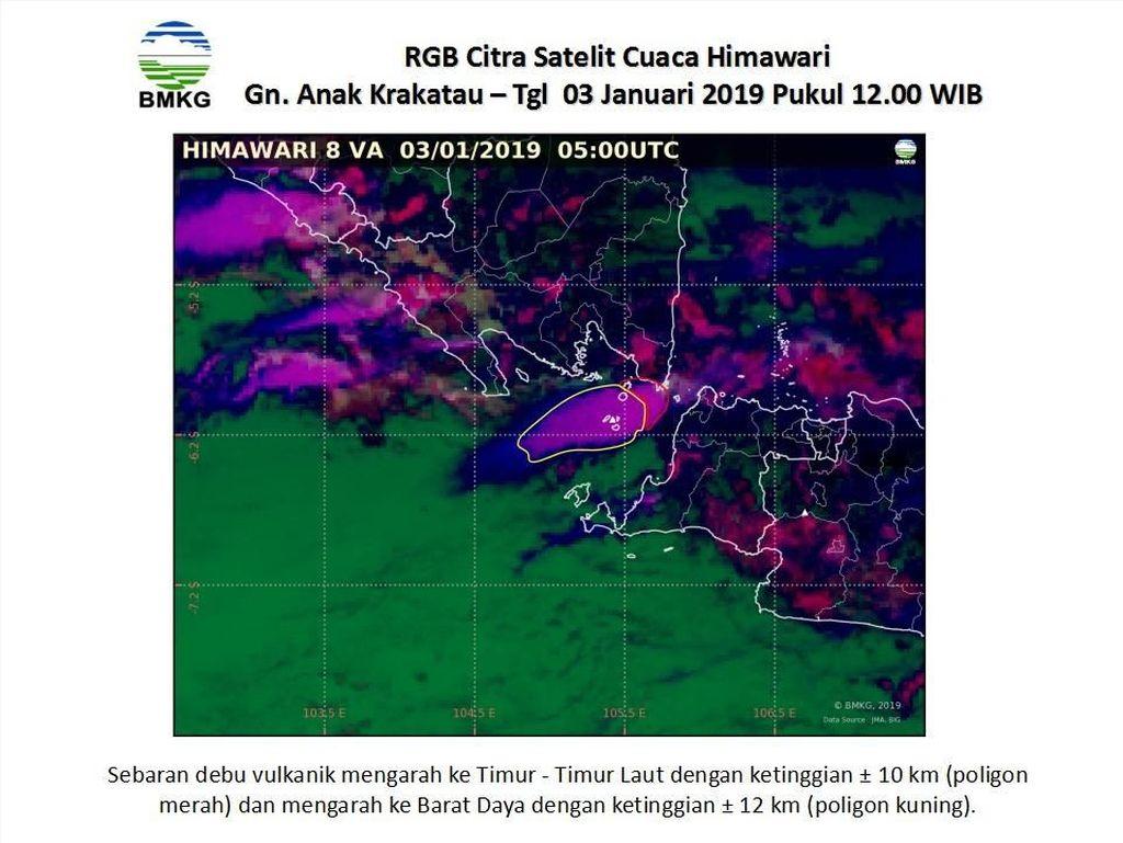 Abu Vulkanik Bergerak ke 2 Arah, Ini Citra Satelit Anak Krakatau Pascaerupsi