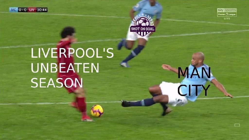 Meme Kocak Liverpool yang Gagal Invicible Usai Digebuk City