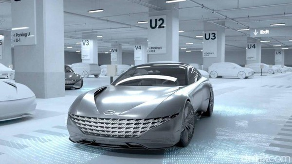 Tak perlu dikendarai, mobil kemudian akan mencari tempat pengisian baterai kendaraan listrik di parkiran gedung. Foto: Hyundai