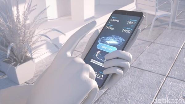 Kondisi baterai mobil listrik otonom bisa diketahui lewat aplikasi di telepon genggam. Pengguna kemudian bisa menyuruh mobil mencari tempat pengisian baterai terdekat lewat sentuhan jari di HP-nya. Foto: Hyundai